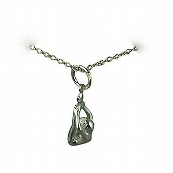 Silver 15x7mm Forward Bend Pose Yoga Position Pendant with a rolo Chain 24 inches