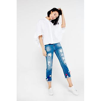 Hot & Delicious Ripped Jeans With Pom Pom Detail