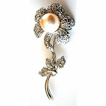 Sun Flower Brooch Ivory Pearls Silver Plated Stem Diamante Leaves Gift