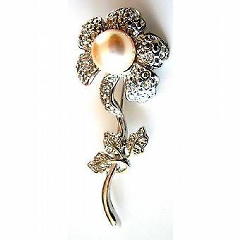 Sun Flower brosje elfenben perler sølv belagt Stem Diamante blader gave