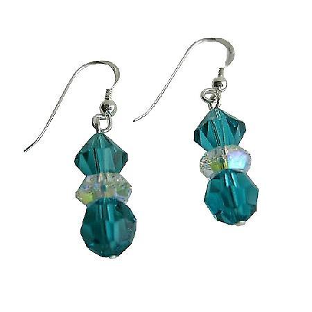 Swarovski Blue Zircon w/ AB Spacer Sterling Silver Dangled Earrings