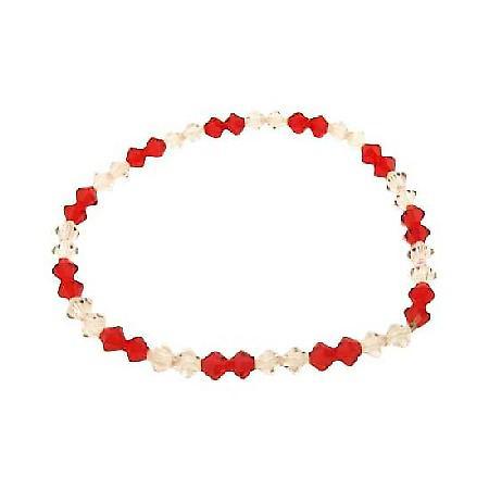 Swarovski Siam Red Crystals & AB Crystals Stretchable Bracelet