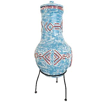 Charles Bentley Aztec Clay Chimney Outdoor Patio Heater Burner with Aztec Pattern Rain Protection Lid - Large