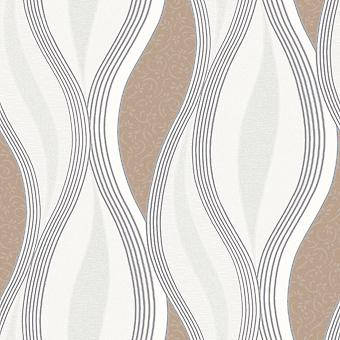 Beige Glitter Waves Silver White Quality Textured Vinyl Feature Wallpaper