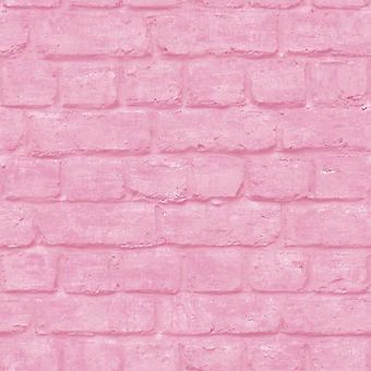 3D baksteen Effect behang roze stedelijke reliëf geweven industriële metalen