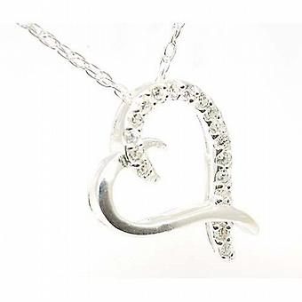The Olivia Collection Sterling Silver Crystal Cross Over Heart Pendant
