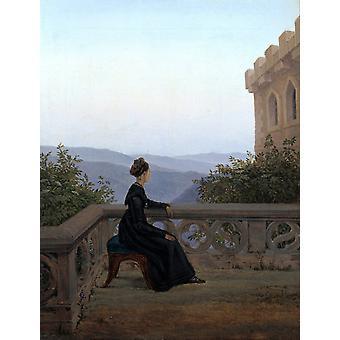 Woman on a Balcony,Carl Gustav Carus,50x38cm