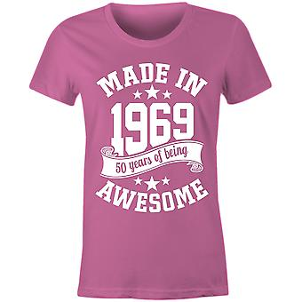 Ladies made in 1969 50 years of being awesome 50th birthday t shirt