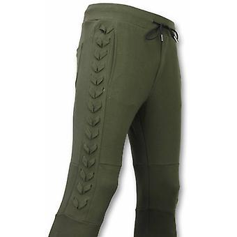 Casual sweatpants-Braided Jogging pants-Khaki