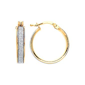Jewelco London Ladies Gold-Plated Sterling Silver Moondust Hoop Earrings 18mm