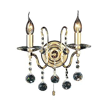 Diyas Bianco Wall Lamp Switched 2 Light French Gold/Crystal