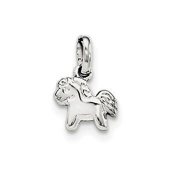 925 Sterling Argento Rh placcato per ragazzi o ragazze polacco Pony ciondolo - .7 Grams