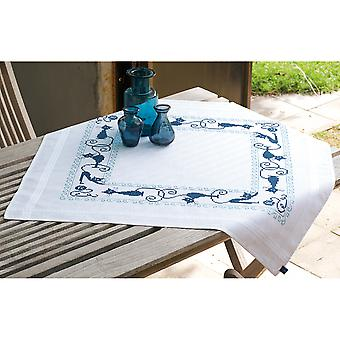 Cheerful Cats Tablecloth Stamped Embroidery Kit-32