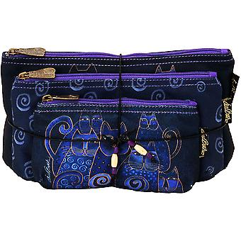 Cosmetic Bag Set Of Three Indigo Cats Lb5332