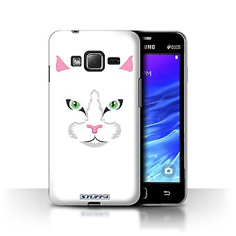 STUFF4 Case/Cover for Samsung Z1/Z130/White Cat/Animal Faces