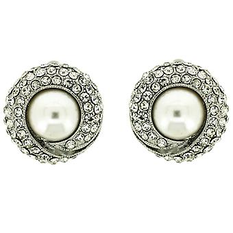 Clip On Earrings Store Clear Crystal and Pearl Circle Clip on Earrings