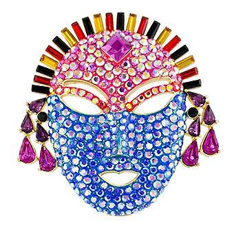 Butler och Wilson Vintage Crystal ansikte Mask brosch guld Multi AB