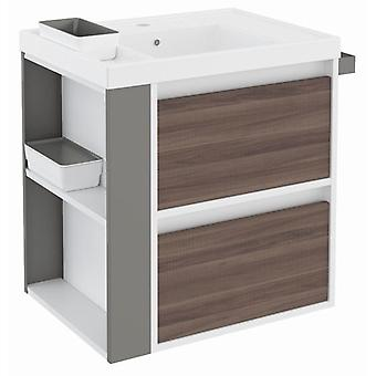 Bath+ Sink cabinet 2 Drawers With Resin Fresno-White-Grey 60CM