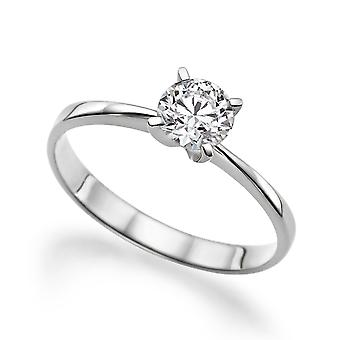 1/2 Carat D VS1 Diamond Engagement Ring 14k White Gold Classic Ring Vintage Ring Unique Ring