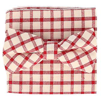 Snobbop set-bound bow tie & handkerchief white cotton gingham in red!