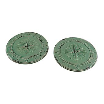 Set of 2 Green Vintage Finish Compass Rose Ceramic Candle Plates
