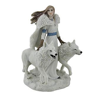 Neve inverno guardiani di Anne Stokes lupi e statua di Mistress
