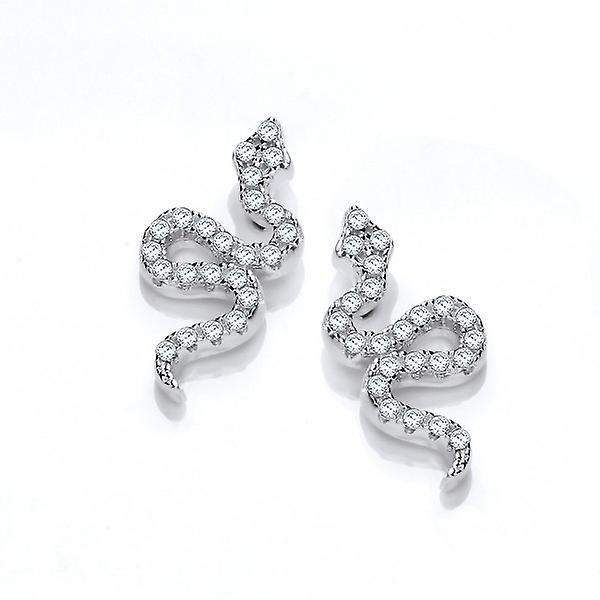 Cavendish French Silver and CZ Snake Earrings