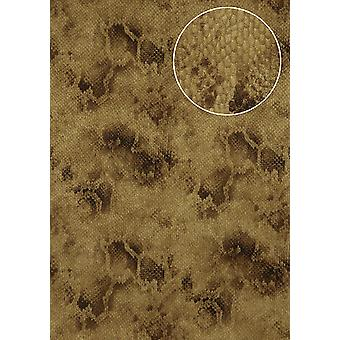 Animal motif wallpaper Atlas STI-5100-3 non-woven wallpaper imprinted with snake pattern shimmering brown brown beige sepia Brown 7,035 m2