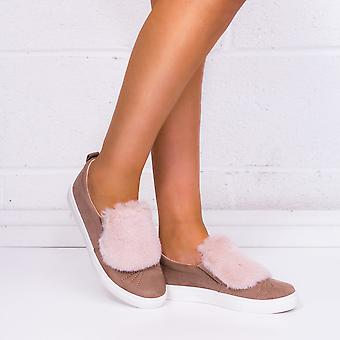 Spylovebuy Bonbon Furry Flat Loafer Shoes - Pink Suede Style