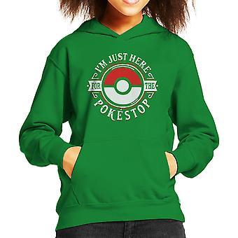 Im Just Here For The Pokestop Pokemon Kid's Hooded Sweatshirt