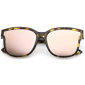 Frauen Horn Rim Metall Akzent gespiegelt Quadratmeter Wohnung Cat Eye Sonnenbrille Objektiv 55mm