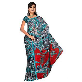 Trisha Georgette gedruckt Casual Sari Sari Bauchtanz Stoff