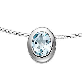 Pendant on rhodium plated oval 925 sterling silver 1 blue topaz blue light blue