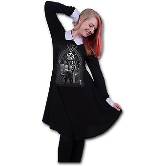 Spiral - WITCH NIGHTS - Women's Peter Pan Collar Baby Doll LS Dress