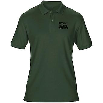 PTI Physical Training Instructor Text Embroidered Logo - Official Mens Polo Shirt