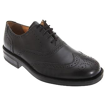 Roamers Mens Flexi Leather Oxford Brogue Shoes