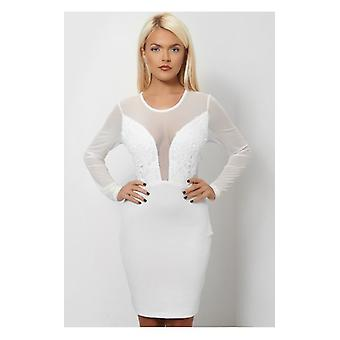 The Fashion Bible White Embroidered Mesh Bodycon Dress