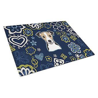 Blue Flowers Jack Russell Terrier Glass Cutting Board Large