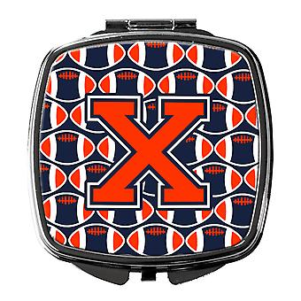Letter X Football Orange, Blue and white Compact Mirror