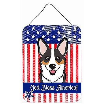 God Bless American Flag with Tricolor Corgi Wall or Door Hanging Prints