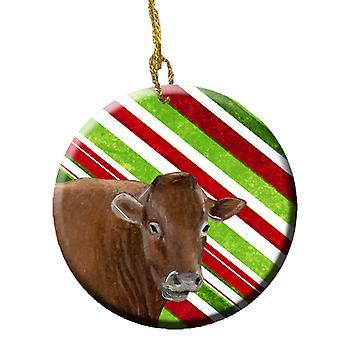 Carolines Treasures  SB3137CO1 Cow Candy Cane Holiday Christmas Ceramic Ornament