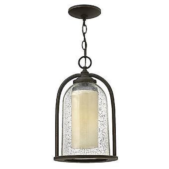 HK/QUINCY8/M Quincy 1 Light Chain Ceiling Lantern Light In Oil Bronze