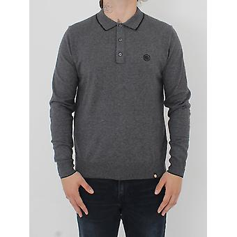 Pretty Green Tilson L/Sleeve Knitted Polo - Dark Grey
