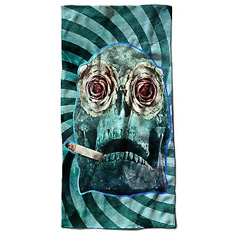 Smoking Sugar Death Skull Beach Towel 70cm x 150cm | Wellcoda