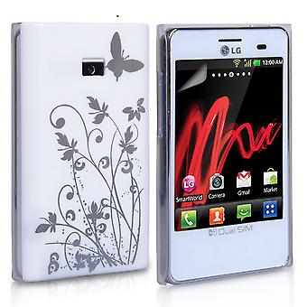 Yousave Accessories LG Optimus L3Butterfly IMD Hard Case - White
