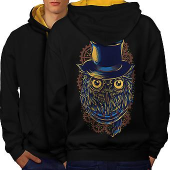Hipster Owl Cool Fashion Men Black (Gold Hood) Contrast Hoodie Back | Wellcoda