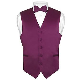 Men's Dress Vest & BowTie Solid Bow Tie Set for Suit Tux