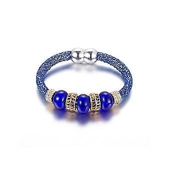 Beads of glass blue and steel color Gold Bracelet
