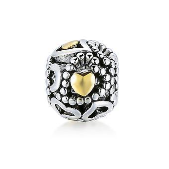 Perle und kleinen Herzen gold charms