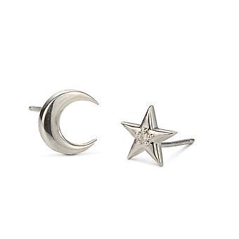 Clásico de Moissanite de luna y estrellas pendientes